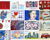 The Jubilee Postcards Stamp Designs celebrating the Best of Britain Book The Queens Jubilee Birthday Book Postcrossing Mail Art Postcards