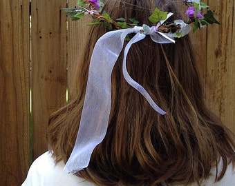 country girl Lilac fabric bridal floral crown handmade forest boho handmade flowers silk tulle ivy farm wedding