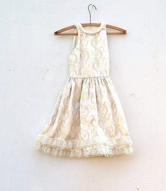 SALE upcycled jessica mcclintock  junior bridesmaid party eco lace golden sparkle satin rose ecru prairie girl wedding couture dress