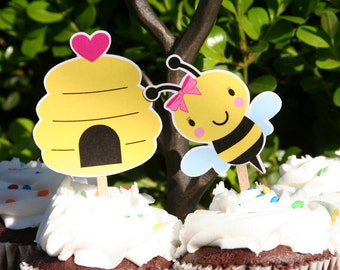 Girl Bumble Bee Cupcake Toppers Set of 12