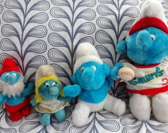 vintage 1980s cartoon characters Plush doll Smurfs  Baseball Smurf Papa Smurf Smurfette LOT