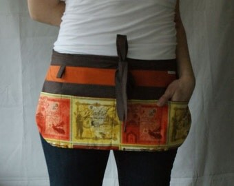 Utility Apron/Teacher Apron with 8 pockets and loop in Bombay Madrid orange yellow brown fabric