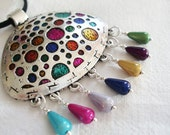 Statement Necklace, Pendant,  Silver pendant with colorful dangle beads - Pink, Yellow, Blue, Green necklace - Circles and drops