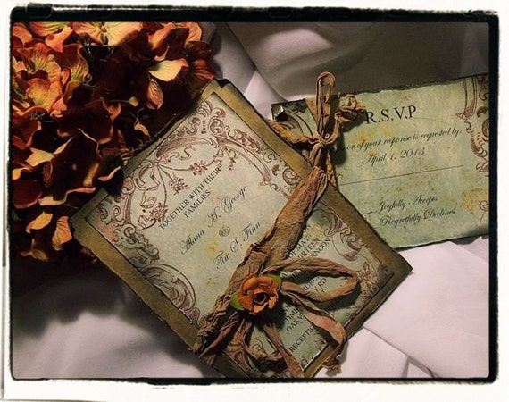 Tuscan Themed Wedding Invitations: Items Similar To Tuscany Fall Vintage Wedding Invitation