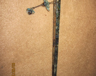 Abalone Hair Stick w/ Blue Flowers...one of a kind..1354h