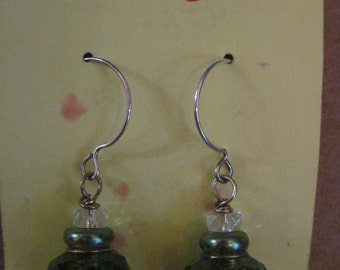 Green Envy Chinese Lantern Earrings ....one of a kind....ORIGINAL DESIGN...1374h