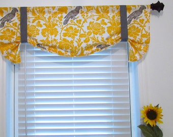 Top Window Treatmentyellow white Corn Yellow Taupe Barber  Tie Up Curtain Valance Handmade in the USA