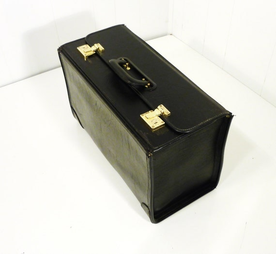 Vintage Briefcase Salesman Sample Case Attache Case Black