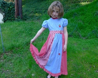 70s Girl maxi Dress strawberry Sz 7 8 years old red white blue hippie prairie