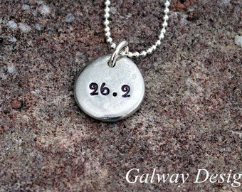 Hand Stamped RUNNERS Necklace - pewter pebble