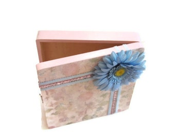 Keepsake/Trinket Box Floral Decoupaged Embellished With Blue Ribbon & Pink Gem Stones