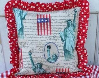 Ruffled Patriotic Pillow