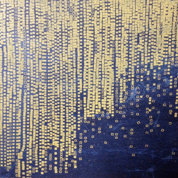 Etching Print Navy Blue And Yellow Home Decor Terrain 100 8