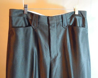 "1970s BUFFALO COUNTRY //  Mens Western Pants // Poly // Snap Back Pockets...34""X36"" unhemmed"
