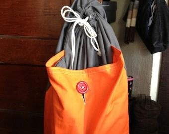 backpack laundry bag or tote bag - grey with orange pocket