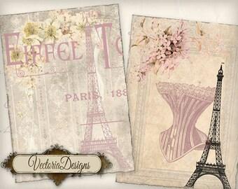 Paris ATC vintage printable paper craft art paper crafting scrapbook embellishment instant download digital collage sheet - VD0428