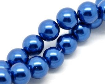 12mm SAPPHIRE BLUE Round Glass Pearls . 30 beads  bgl0272