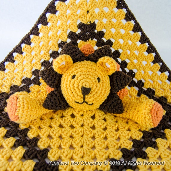 Instant Download - New  PDF Crochet Pattern - Lion Security Blanket  - Text instructions and SYMBOL Chart instructions