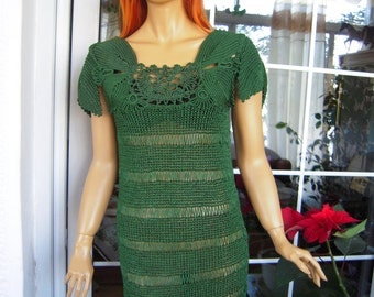 MADE TO ORDER Handmade crochet knitted short sleeved  top/dress in forest green silk gift idea for her by golden yarn