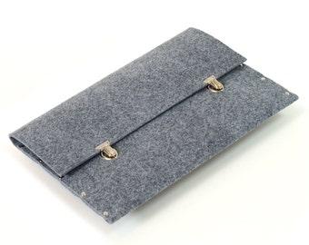 MacBook 13 Air Briefcase Case Sleeve Bag Cover, grey synthetic felt handmade by SleeWay