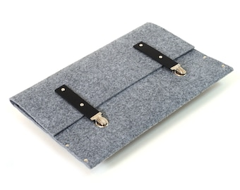 MacBook Retina 13 Case Sleeve Cover synthetic felt briefcase with black leather straps
