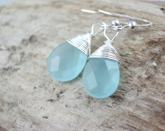blue chalcedony wire wrapped earrings-gemstone earrings-bridesmaid earrings