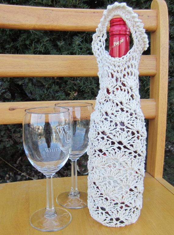 Free Crochet Pattern For Wine Bag : PDF Pattern Crochet Lace Shell Wine Bag by ...