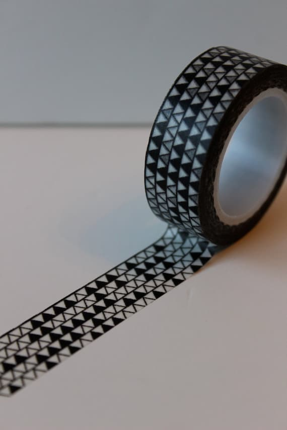 Black and white geometric pattern washi tape by for Geometric washi tape designs