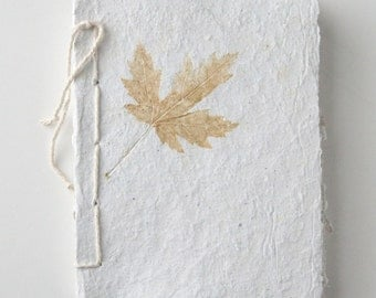 Handmade Paper Recycled Journal - Single Maple Leaf