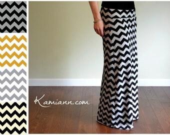 Chevron Maxi Skirt, Yoga Waistband, Long Maternity - Custom Made - Kamiann