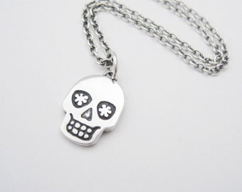 Silver Skull Necklace, Skull Charm