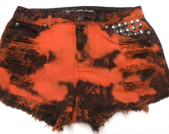 Waist  31  inches  ---Ready to Ship----Black & Orange  Hand Dyed Studded  Denim  Shorts