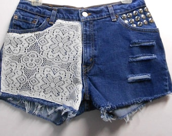 Levis 517 denim shorts -----Crochet Lace  and Studs--- Sz 11 Jr---Ready to SHIP