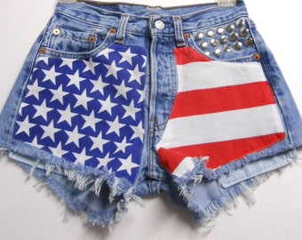 "Waist 25"" ---Ready to Ship----Vintage  Levis 501   -- Denim Shorts - American Flag Style---Studded"