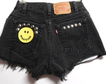 Waist 26 inches  ---Ready to ship----Vintage High Waisted LEVIS  Denim Shorts -Studded