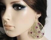 Purple Earrings Purple Jewelry Laser Cut Earrings Laser Cut Jewelry Rhinestone Earrings Women Jewelry Gift Ethnic Earrings Flower Earrings