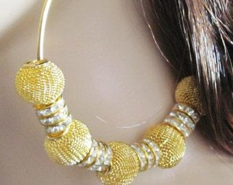 Basketball Wives Earrings Mesh Earrings Big Gold Hoop Earrings Beaded Hoop Earrings Rhinestone Hoops Mesh Bead Earrings Women Jewelry Gift