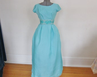 1950s long dress, separate back panel, aqua organdy , shiffli embroidery,