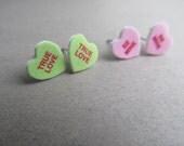 Valentines Day Candy Heart Stud Earrings, True Love, Be Bine