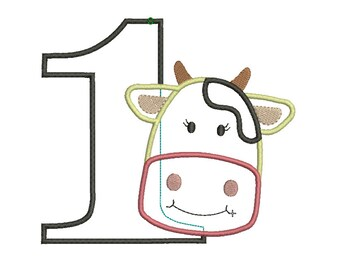 INSTANT DOWNLOAD, Machine Applique Design, One with Cow