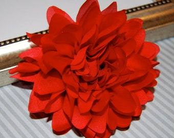 Red  Fabric flower  -  4''  large silk red fabric flower - flat back  Dahlia Silk Flower red
