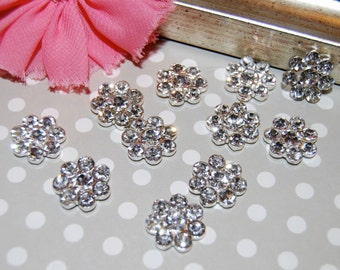6 rhinestone button Crystal  flower centers buttons flat back  17mm  - silver rhinestone embellishment  accent metal component