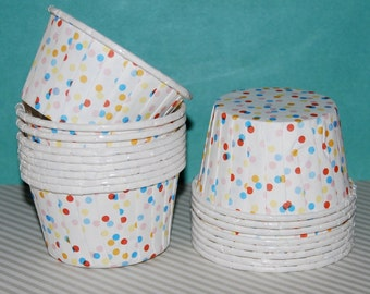 Confetti  Polka Dot  Candy Cups Nut cups Grease proof  Baking cupcake liners  muffin cups  Ice cream dessert portion cups - 24 count