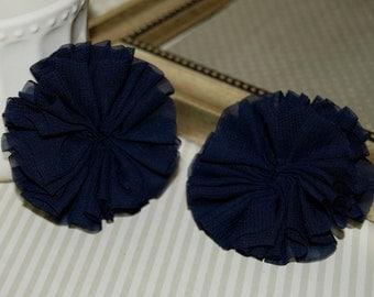 "Set of 2 Chiffon ballerina Double Ruffle Unfinished Flowers - 2.5"" Navy Blue chiffon twirl pleated tutu fabric flowers shoe hair headband"
