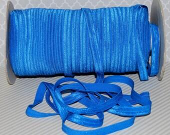 "3/8"" Fold Over Royal Blue Shiny FOE 3/8"" inch - #P350 - Baby Headbands Hair Ties Satin Elastic Soft stretch - 5 yds Skinny Elastic"