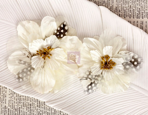 Ivory Cream Fabric Feather Flowers (2 pcs) - Firebird white 566470 - vintage style use for hair flowers hat flowers headband flowers corsage