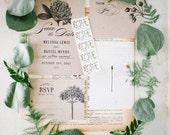 Set of 4 Wedding Invitation Printable Template, Botanic Garden