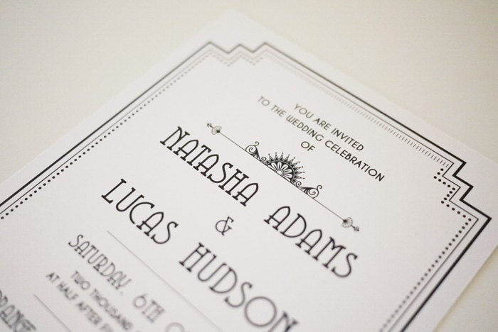 Great Gatsby Wedding Invitation: The Great Gatsby Art Deco Wedding Invitation By 3EggsDesign