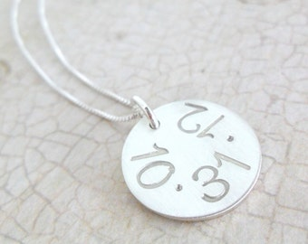 Date Necklace | Silver Date Necklace | Sterling SIlver Disc | Custom Date Necklace | Personalized Date Jewelry | Special Date Jewelry
