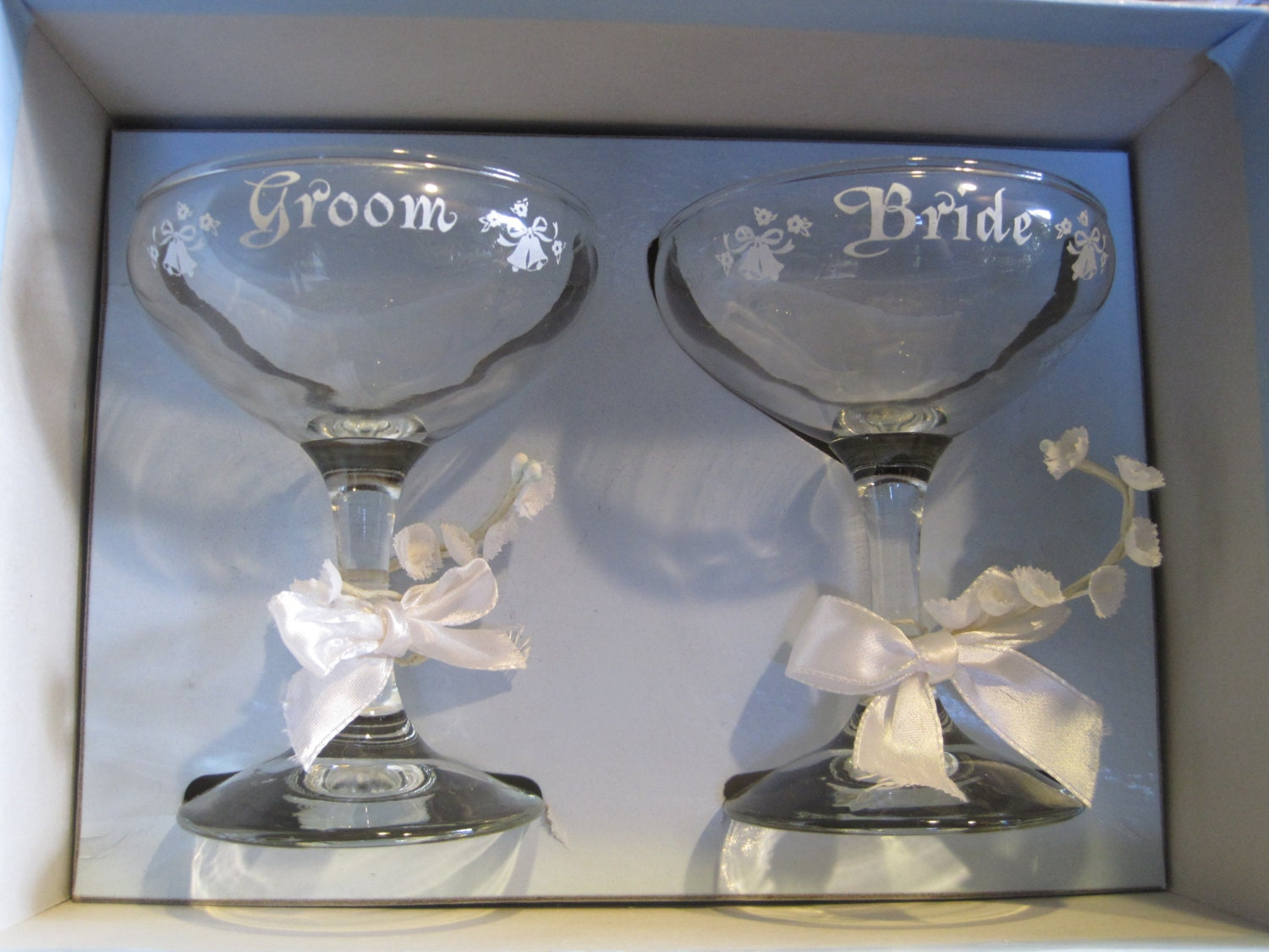 Toast the Bride and Groom Vintage Embossed Goblets